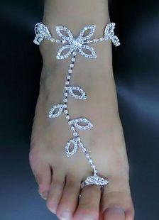 Scarpe da sposa spiaggia bianco strass cavigliere con anello