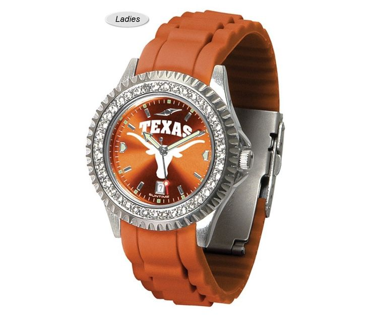 The Sparkle AnoChrome Texas Longhorns Watch is available in a Ladies style. Showcases the Longhorns logo. Color-coordinated silicone band. Free Shipping. Visit SportsFansPlus.com for Details.
