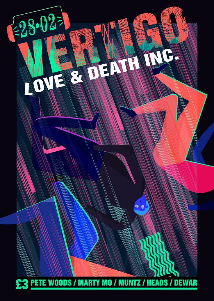 Commission to create a poster for an entertainment event at Love and Death Inc. The client wanted something involving the idea of Vertigo, a sensation of whirling and loss of balance while also drawing inspiration from the design of rave posters form the 90s. This was the final outcome I designed for the client.