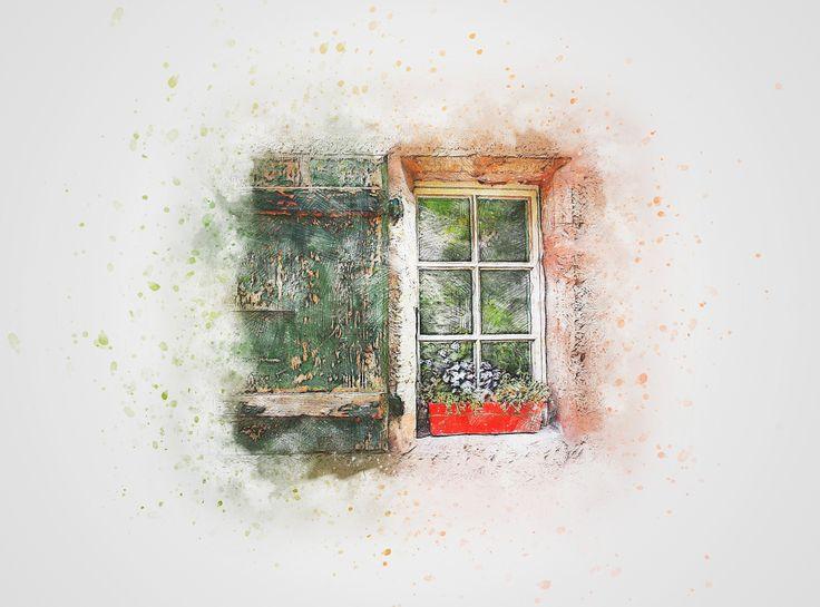 창, 꽃, 셔터, 아트, 개요, 포도주, 예술적인, 디자인
