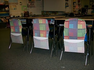 Use large, stretchable book covers on chairs to hold white boards, folders, books, etc. Room mom, where are you when I need you?!