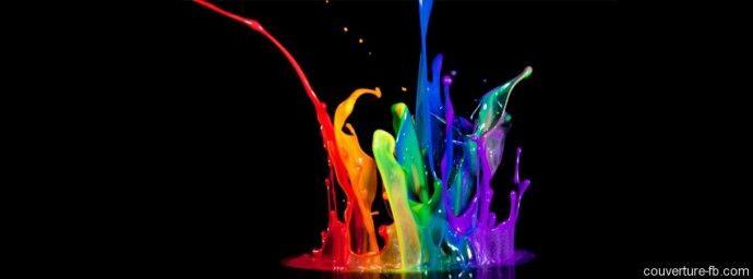 Une jolie explosion de peintures de toutes les couleurs pour cette couverture Facebook.