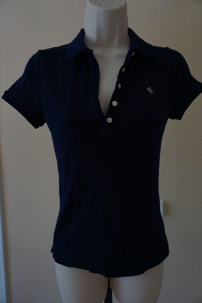 NWT Lauren Ralph Lauren Petite Navy Blue Short-Sleeve Polo Shirt Women's XS  #LaurenRalphLauren #PoloShirt