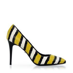 Just Cavalli czarno-żółte szpilki skórzane