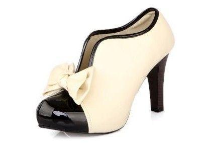 LATHPIN-Vintage-Damen-Schuhe-Pumps-High-Heels-Beige-Brautschuhe-mit-Schleife-Stilettosabsatz-0