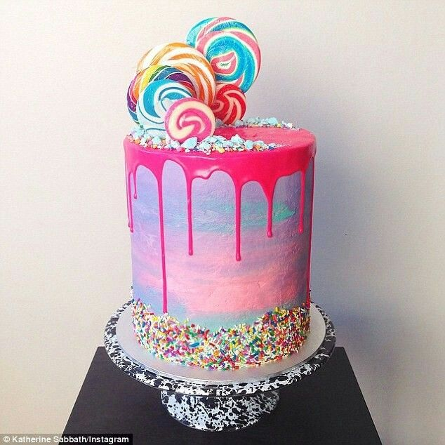 Water colour drip cake