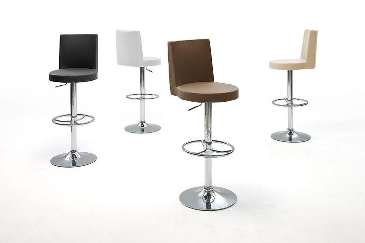 Barstuhl Jena Barhocker 2 verschiedene Farbvarianten Material: Gestell:  Chrom Sitz:  PU / Lederoptik / gepolstert Maße: B/H/T ca. 44 x 93 - 114 x 53 cm...