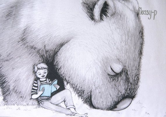 Wombat Pillowcase with Boy facing Right. by flossypArt on Etsy