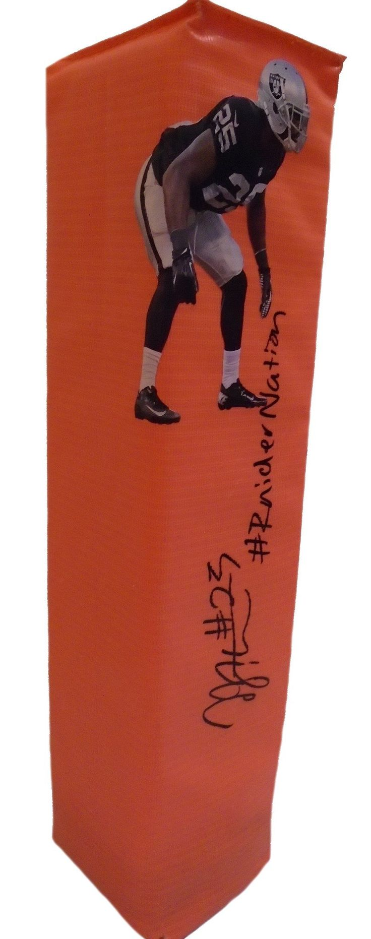 """D.J. Hayden Autographed Oakland Raiders Photo Full Size Football End Zone Touchdown. This is a brand-new custom D.J. Hayden signed Oakland Raidersphotofull sizefootball end zone pylon featuring """"#RaiderNation"""" inscription! This pylon measures 4inches (Width) X 4inches (Length) X 18inches (Height).D.J.signed the pylonin black sharpie.Check out the photo of D.J.signing for us. ** Proof photo is included for free with purchase. Please click on images to enlarge. Please browse our…"""