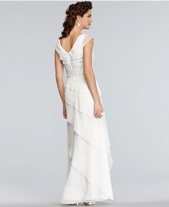 Adrianna Papell Dress, Cap Sleeve Pleated Empire Waist Tiered Gown - Womens Dresses