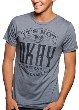 """This week's Sevenly cause is all about helping victims of domestic abuse.  """"It's not okay!"""""""