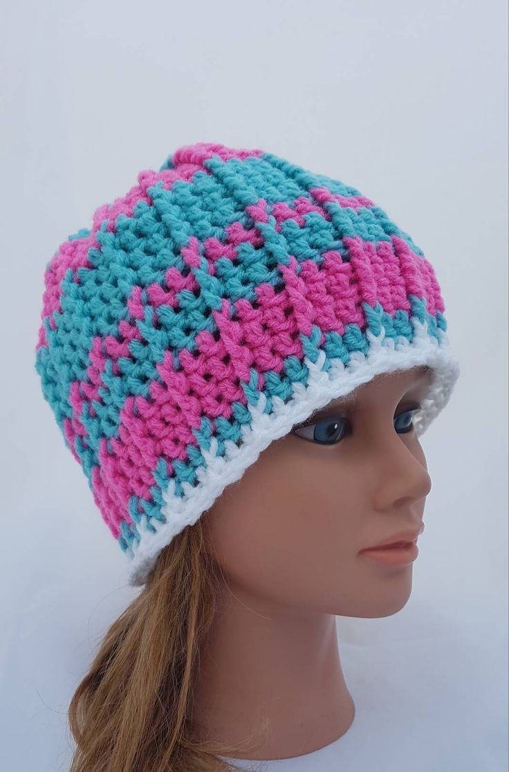 Excited to share the latest addition to my #etsy shop: womens hat, beanie, beanies for girls, hats for girls, women hats, vegan friendly beanie, blue hat, trendy hat, pink beanie, stripe beanie #hat #crochethq #hatsforwomen #crochetbeanie #womanbeanie http://etsy.me/2AnE09I