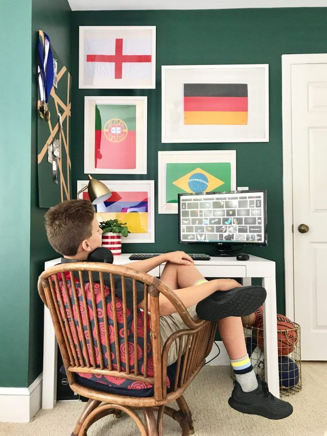 Creating a Cozy Teenage Workspace: Green walls @BEHRPaint Equilibrium #BEHRTrends2018 (home office, boys bedroom, framed flags, parsons desk)