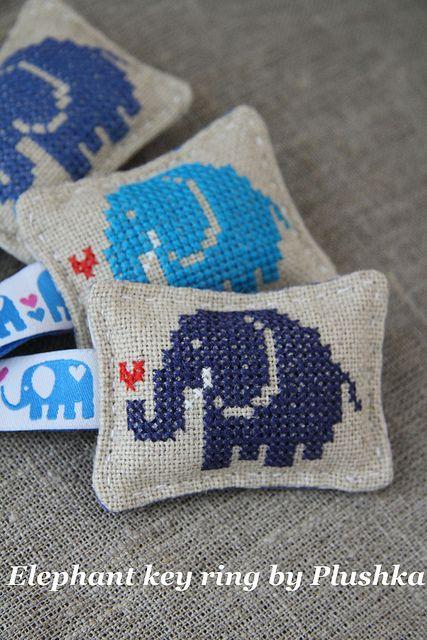 Elephant in cross-stitch, via Flickr.