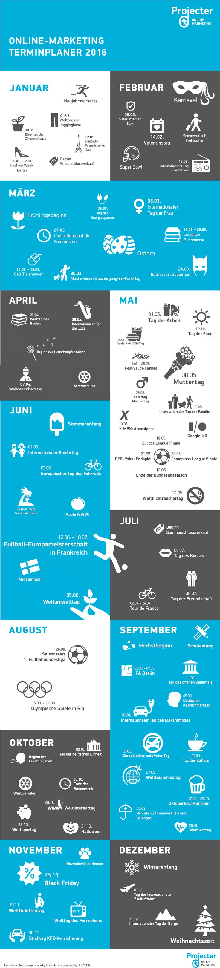 Online Marketing Terminplaner 2016