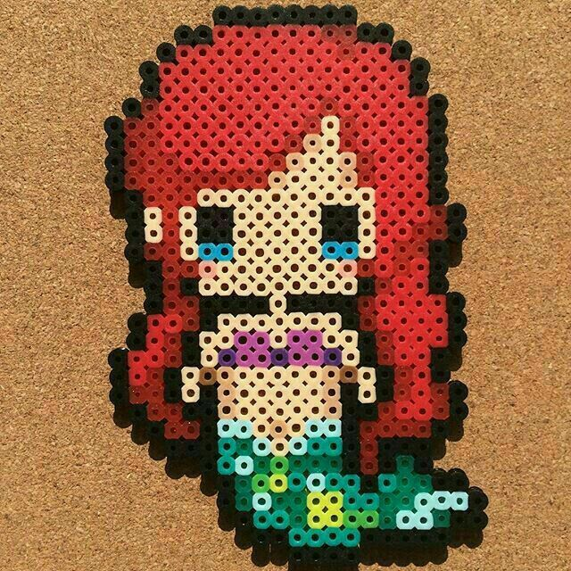 Hama Beads Ariel La Petite Sirene Perle Hama Modele Perle A Repasser Modeles Art Perle