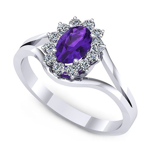 Inel de logodna realizat din aur alb, cu ametist oval si 12 diamante