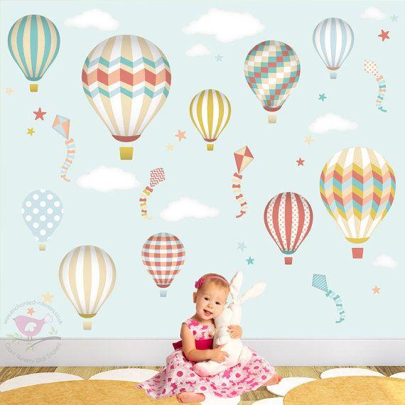 Hot Air Balloons & Kites Nursery Wall Art Sticker Decals