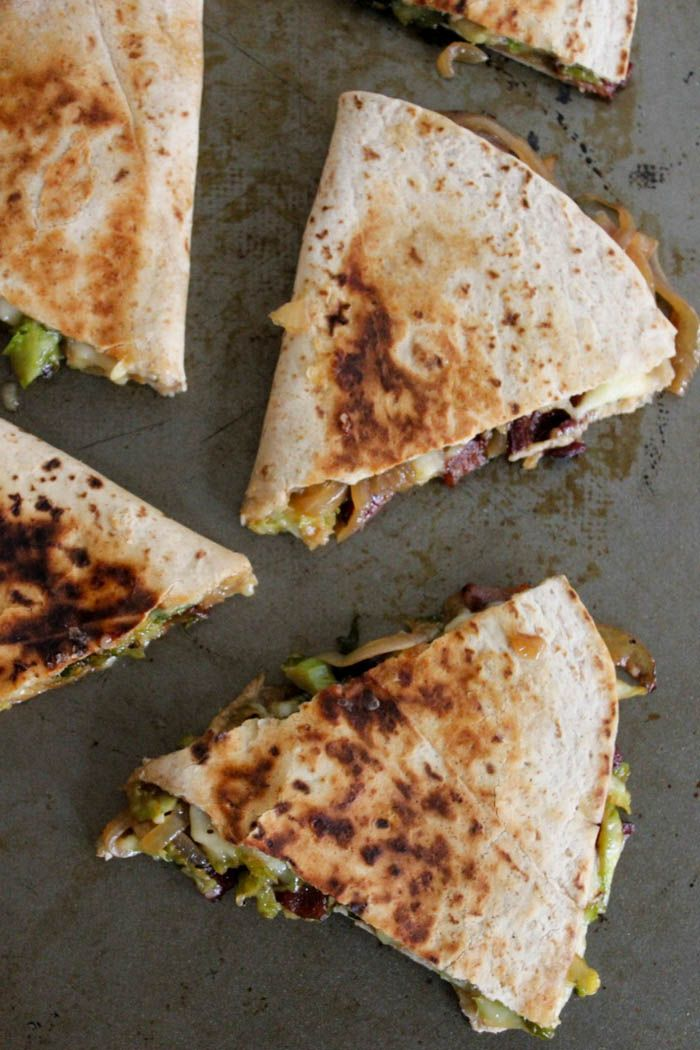 Brie Quesadillas with Brussels Sprouts, Bacon and Beer-Glazed Onions