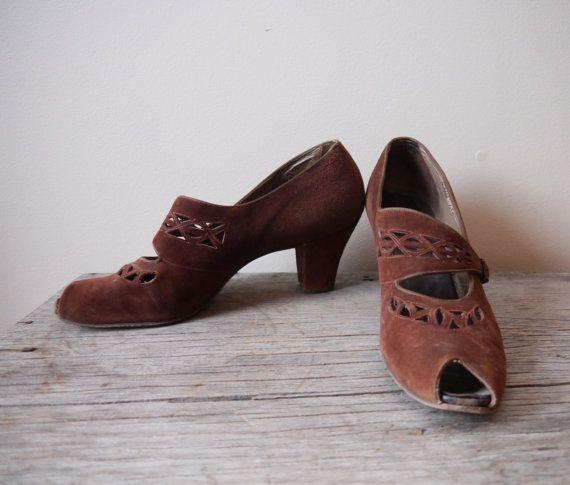 1940s brown suede heels // peep toe // vintage by TheDressForm