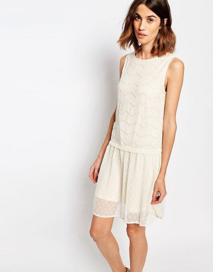 Vila Embellished Drop Waist Dress - Ivory £45.00 AT vintagedancer.com