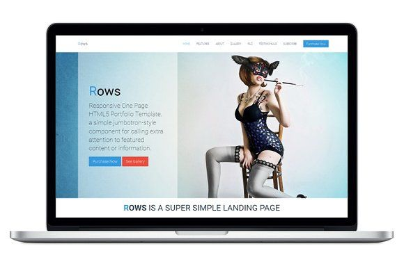 Rows One Page Html5 Template Html5 Templates Website Template Design WordPress Theme Responsive