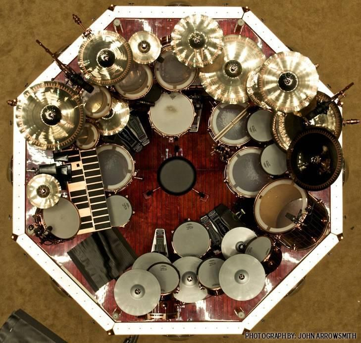 View from above of Neil Peart's drum set.