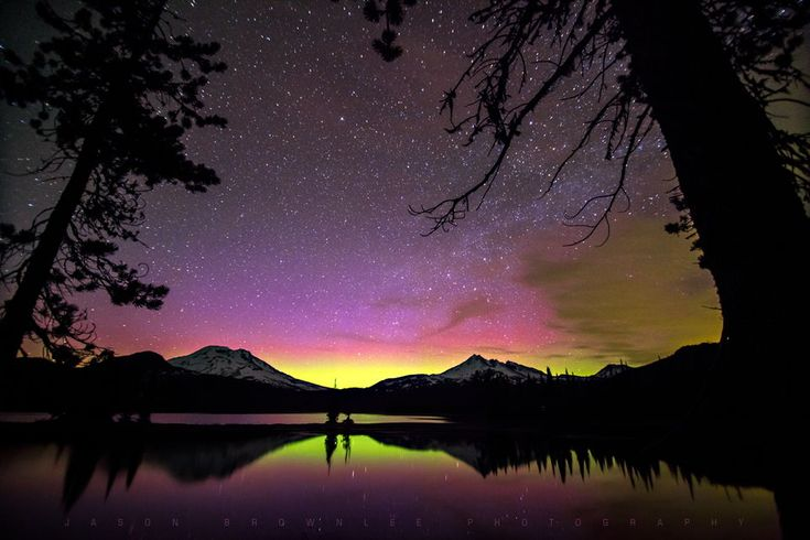 Astrophotographer Jason Brownlee sent in this stunning photo of an auroral display shot from Sparks Lake in the central Oregon Cascade Mountains, taken May 31, 2013.
