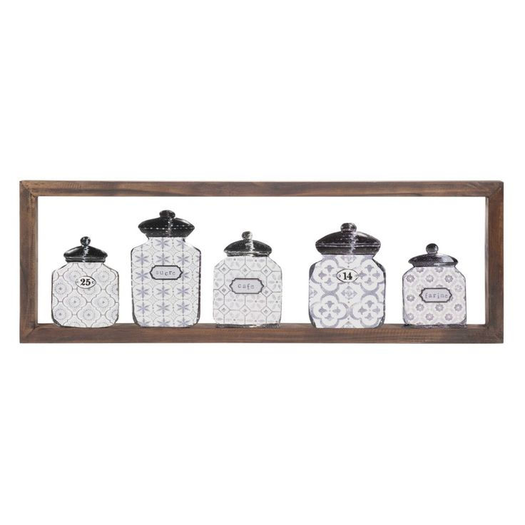 GRAPHIC jars wooden wall art 25 x 75 cm
