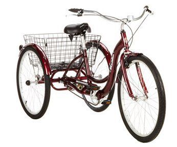 "Bike Tricycle Adult 26"" Schwinn Meridian Adult Tricycle Trike 3-Wheel Cycling Sports Outdoors for fun and exercise, in Cherry, Rugged Durability tricycle for adults who care about the environment and Pro Alternative Energy 