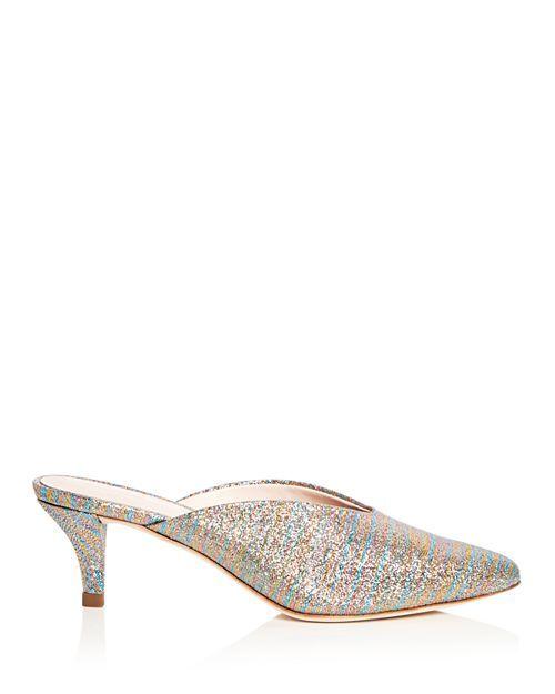 92d965f53c Loeffler Randall - Women's Juno Glitter Stripe Kitten Heel Mules ...