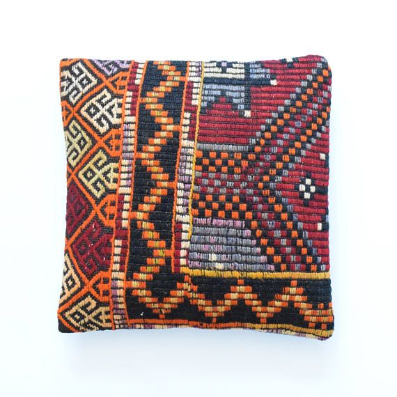 DESCRIPTION: Simply slip this over your existing cushion, for a whole new look. Each kilim rug that I used is handmade, unique and authentic. Using century´s old handcrafting techniques, the rugs have been skillfully hand woven by rural Turkish women using hand-spun vegetable-dyed wool by skilled weavers in their own homes.  DIMENSIONS: Length: 16  Width: 16   Length: 40 cm Width: 40 cm  QUALITY: The back fabric is cotton canvas with a hidden zipper. Durable design combined with genuine…