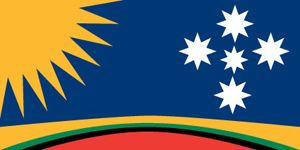 George Poulos flag (1993)  the rising sun of the ANZACs is the primary icon of Australia