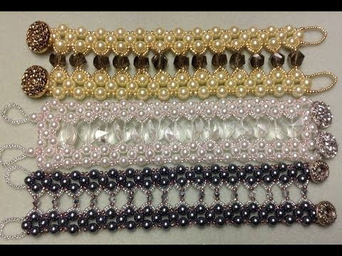 Caged Crystal Bracelet Tutorial- 97 to 112 6mm glass pearls, 16 to 20 BI (4mm or larger), 8/0 SB, 11/0 SB, 2 buttons