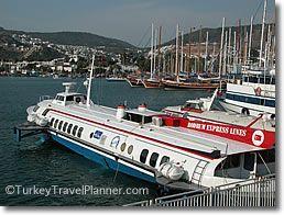 Bodrum-Rhodes hydrofoils, Bodrum harbor, Aegean Turkey