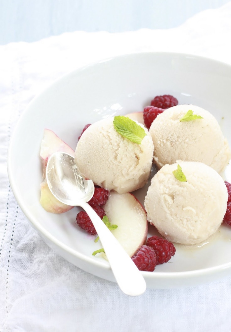 White Peach and Spearmint Sorbet