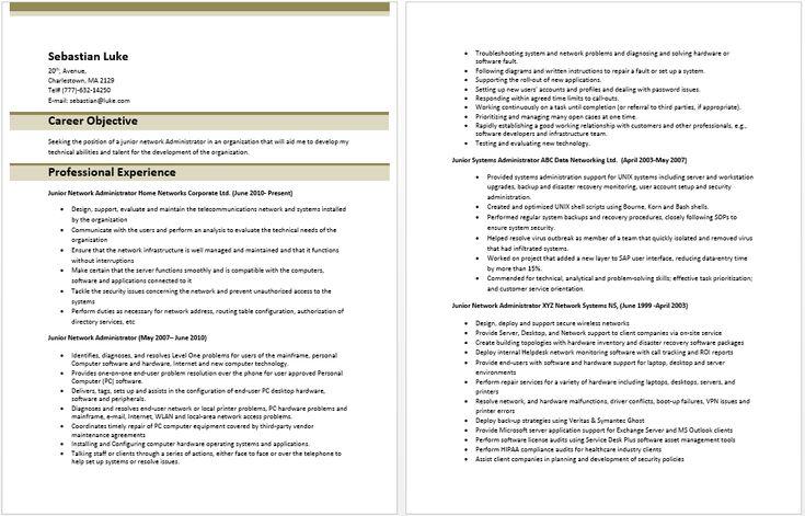 Junior Network Administrator Resume