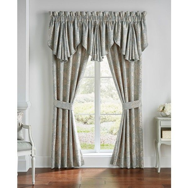 """Croscill Caterina 41\"""" x 84\"""" Pole Top Window Drapery ($220) ❤ liked on Polyvore featuring home, home decor, window treatments, curtains, sage, window drapery, rod pocket curtains, window coverings, sage curtains and croscill curtains"""