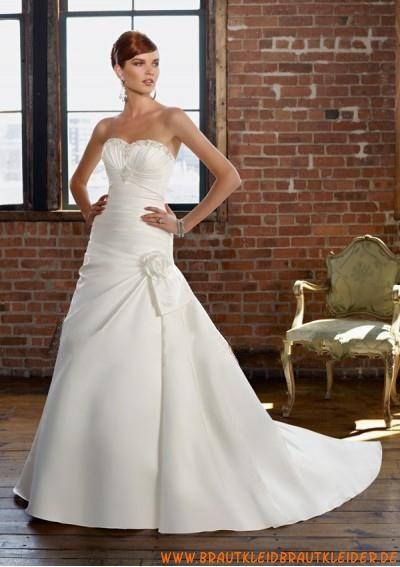 Günstiges Brautkleid aus Satin A-Linie