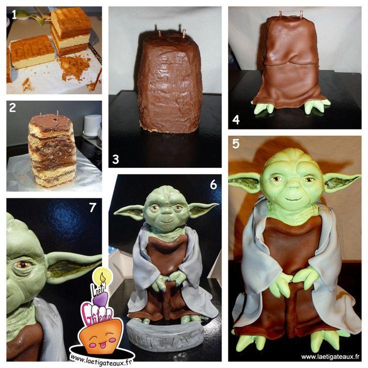 How to make a Yoda Cake 3D Gateau Yoda en 3D tutoriel Part.3