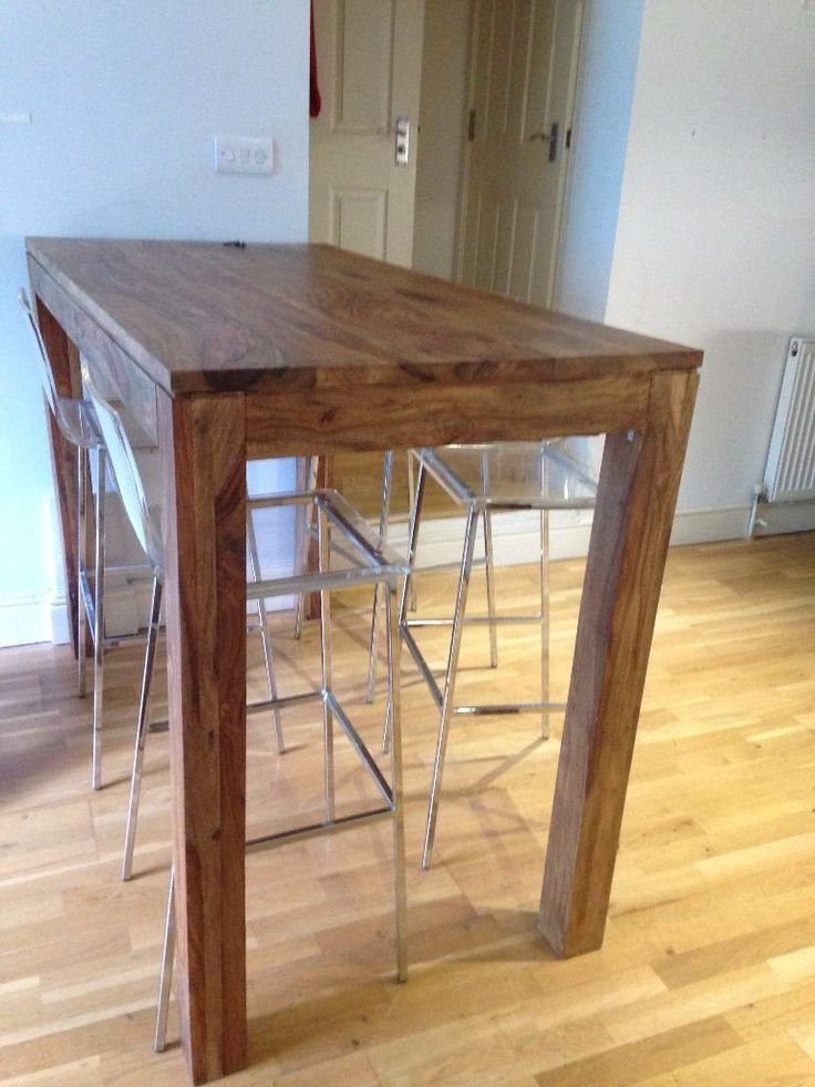 Solid Sheesham Wood High Dining Table W
