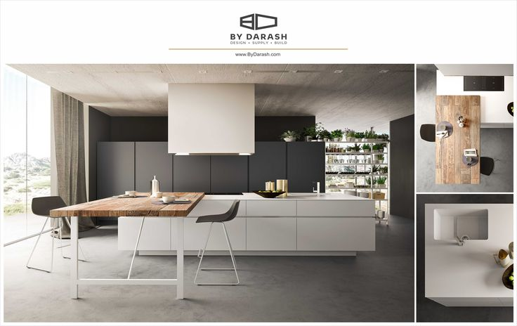 A sleek contemporary trio of wood, black cabinetry, and white to beautify a simple design. Sold by @bydarash