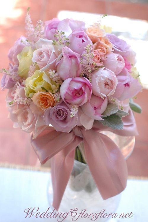 春のパステルミックス*ピンクイブピアチェのクラッチブーケ toアニヴェルセル表参道 様 Wedding / Clutch bouquet :FLORAFLORA*precious flowers*ウェディングブーケ会場装花&フラワースクール*