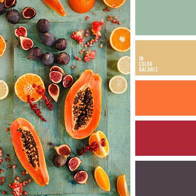 Броская и сочная цветовая гамма, которая просто брызжет энергией и темпераментом. Яркие оттенки оранжевого и красного гармонично уравновешиваются более спокойными тонами. Мятный цвет эффектно вписывается в композицию и придает особого шарма. Песочный смягчает и балансирует. Такие краски подойдут для создания запоминающего образа молодой заводной особы.