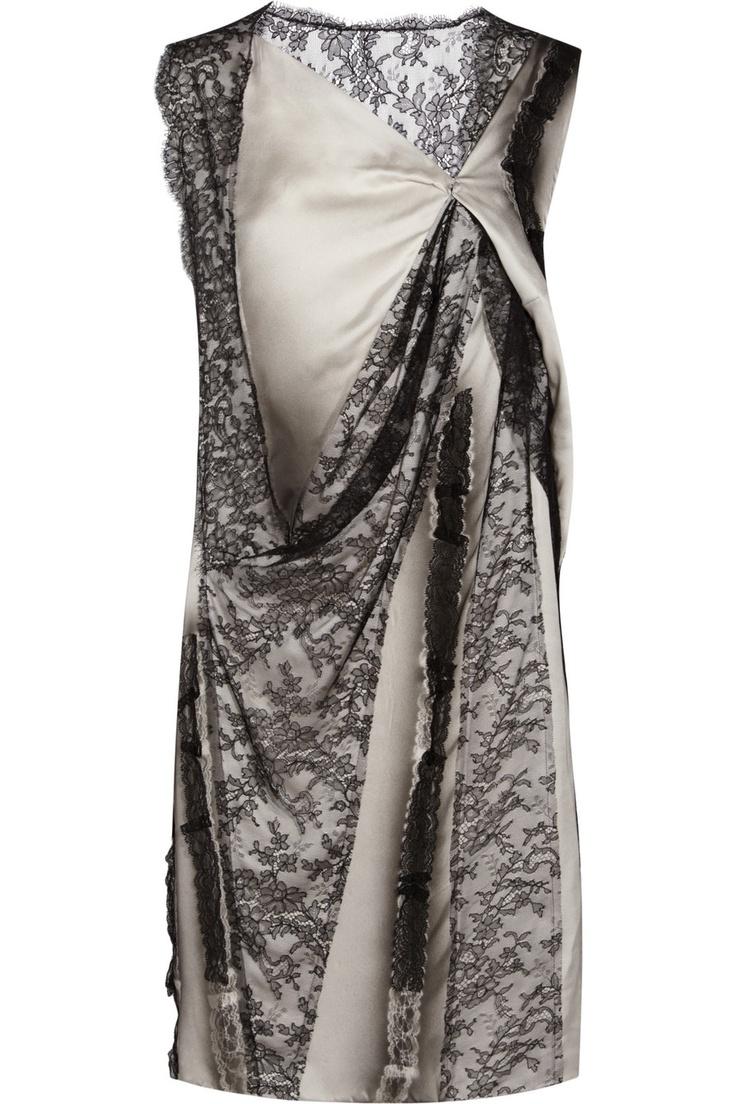 BOTTEGA VENETA  Lace-paneled silk-blend dress