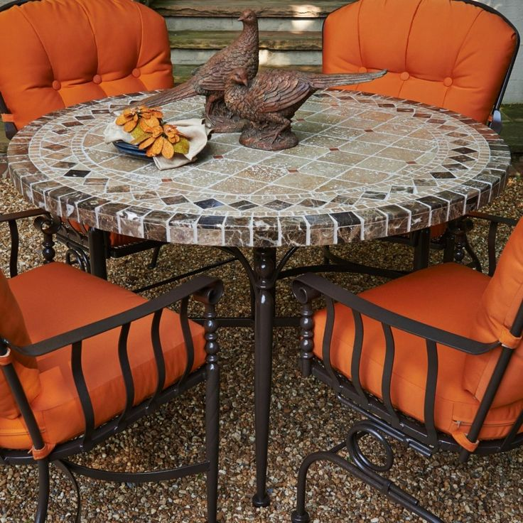 Backyard Patio Ideas : Patio Furniture Great Stone Top Patio Table Sets  From Carrara Marble Mosaic