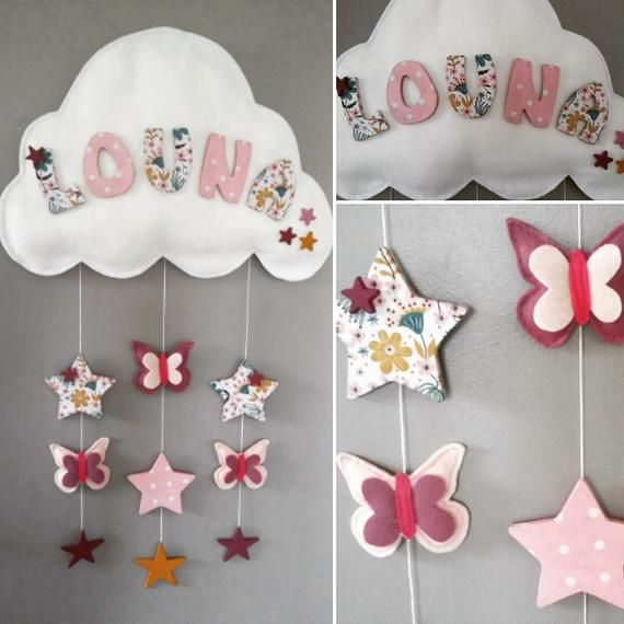 Mobile Mural Decoration Chambre Bebe Prenom Papillons Etsy In 2020 Handmade Etsy Decor
