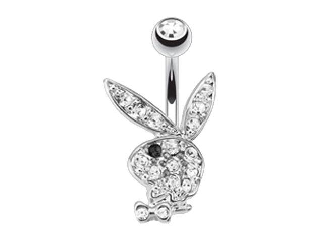 Surgical Steel & Rhodium Plated White & Black Crystal Playboy Bunny Banana 1.6 X10 X5/8