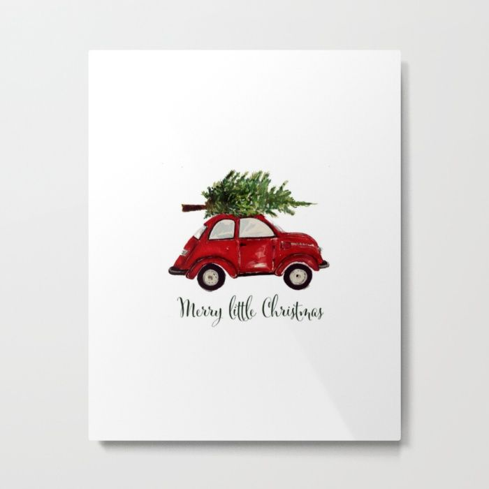 VW, beetle, red, car, Christmastree, winter, watercolor,