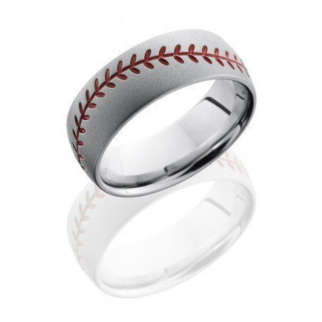 Cobalt Chrome 8mm wide mens baseball stitch wedding band. This gents wedding ring is an 8mm wide domed and brushed finish comfort fit band, with a red enamel baseball stitch design. The stitch can be